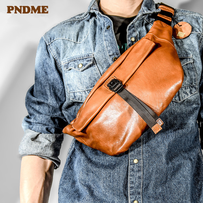 PNDME Fashion Designer Genuine Leather Men's Chest Bag Casual Soft Cowhide Black Messenger Bags High Quality Teens Waist Packs
