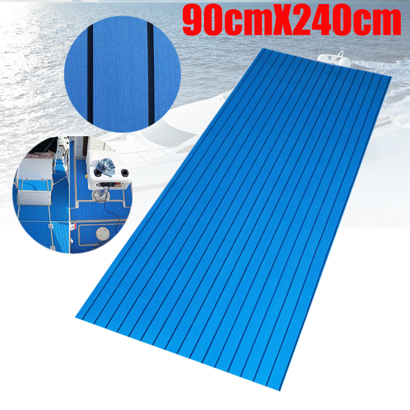 EVA Teak Decking For Boat Yacht Marine Flooring Carpet With Adhesive Gule  90x240cm/45x240cm Blue In Black Boat Accessories