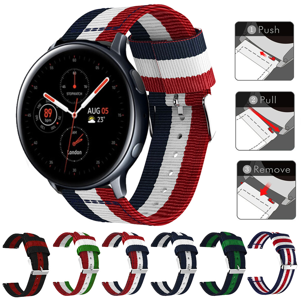 Striped Nylon Strap Watchband For Samsung Galaxy Watch Active 2 40mm 44mm Active2 Band Bracelet Replacement 20mm Wristband Belt