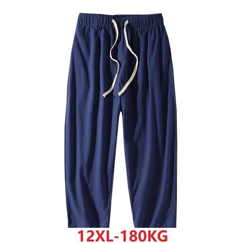 autumn men Pajamas sleep pants chinese style vintage loose sleepwear home casual pants plus size 11XL 8XL 9XL 10XL 12XL 180KG 60