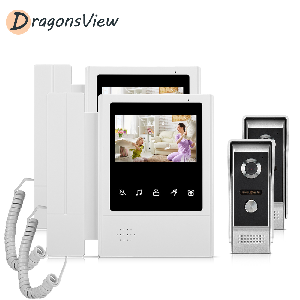 Dragonsview 4.3 Inch Video Door Phone Intercom System With 2 Cameras 1000 TVL for Villa