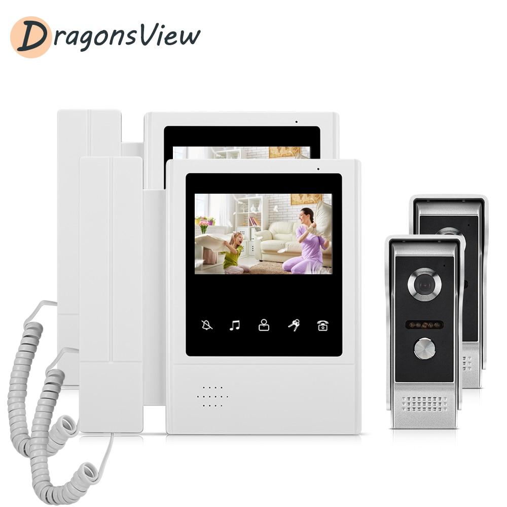 Dragonsview 4.3 Inch Video Door Phone Intercom System With 2 Cameras 1000 TVL For Villa