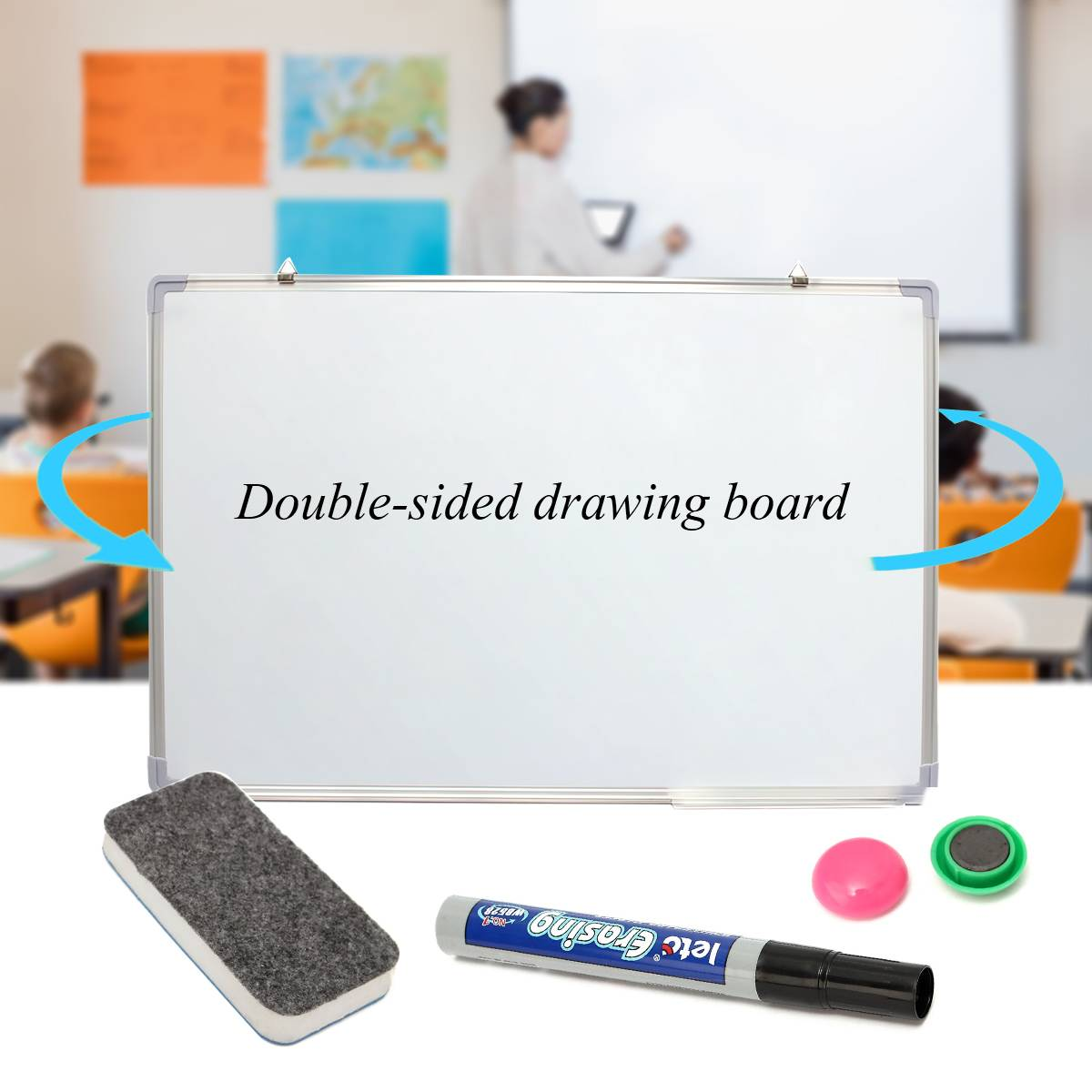 600x900MM Magnetic Dry Erases Whiteboard Writing Board Double Side With Pen Erase Magnets Buttons For Office School
