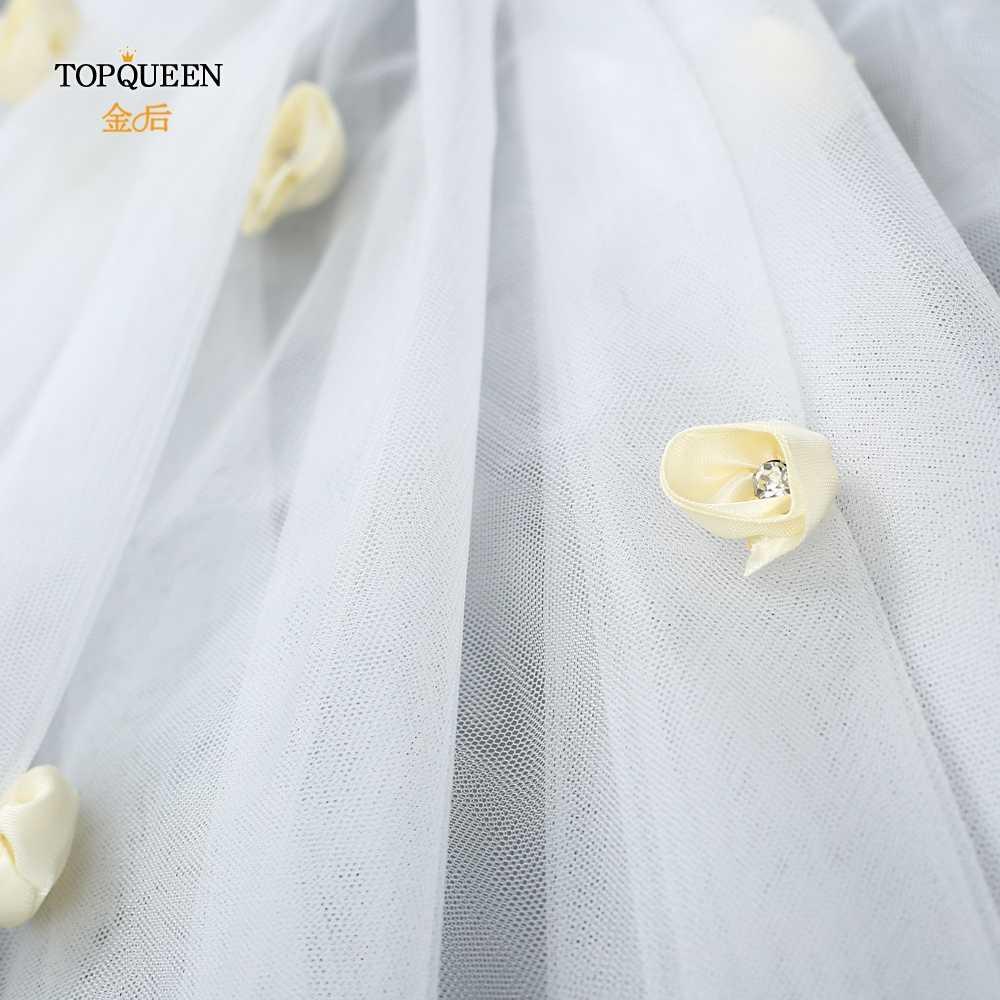 TOPQUEEN VS15 ウェディングベール花レディース花嫁と結婚ロマンチックな甘い花アップリケショートベール 2 層ベール