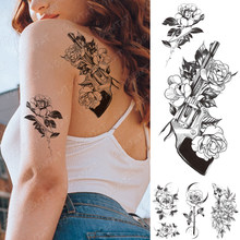 Waterproof Temporary Tattoo Stickers Peony Rose Flower Gun Flash Tattoos Female Black Sketch Body Art Arm Sexy Fake Tatto Women(China)