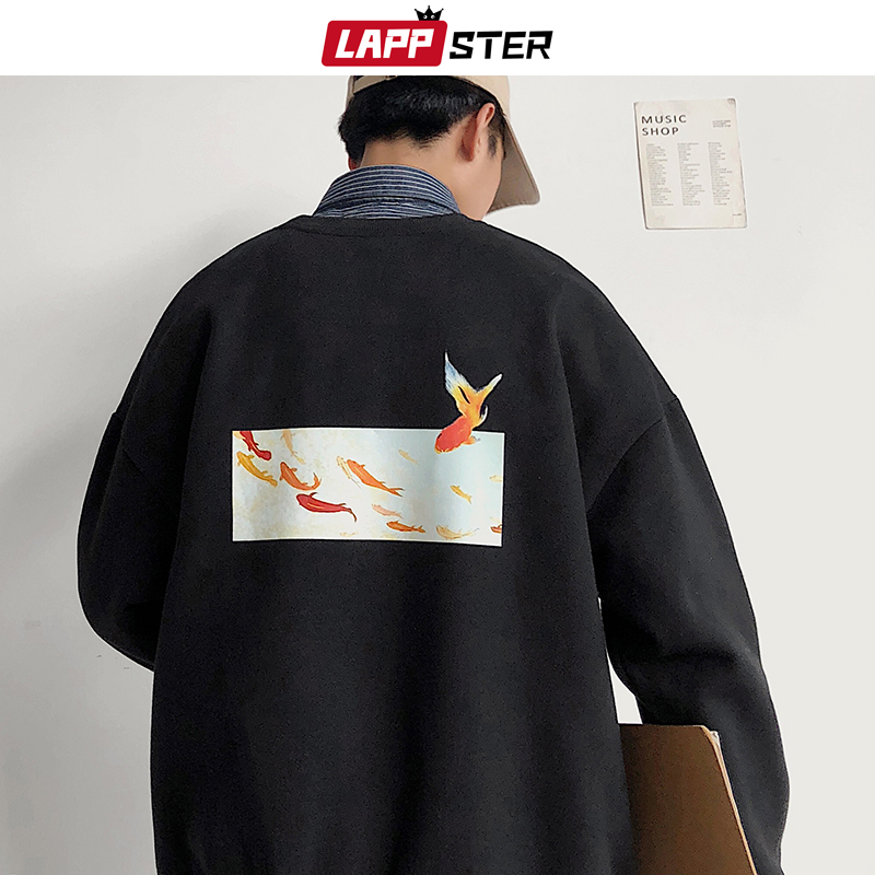 LAPPSTER Men Fleece Oversized Fish Print Hoodies 2019 Autumn Mens Harajuku Streetwear Sweatshirts Hoodie Korean Black Hoodie