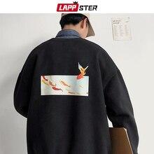 LAPPSTER Men Fleece Oversized Fish Print Hoodies 2020 Autumn Mens Harajuku Streetwear Sweatshirts Hoodie Korean Black Hoodie