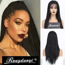 RONGDUOYI Black Hair Yaki Braided Box Braids Wig Long Heat Resistant Synthetic Lace Front Wigs for Women Free Part Lace Wig adiors long senegal twists braids lace front synthetic wig