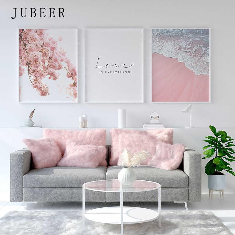 Скандинавский стиль плакат морской пляж декоративная картина розовый цветок стены искусства для гостиной скандинавские украшения домашнего декора