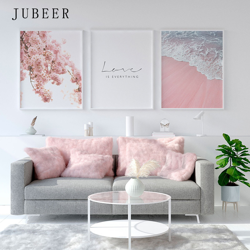 Scandinavian Style Poster Sea Beach Decorative Picture Pink Flower Wall Art for Living Room Nordic Decoration Home Decor in Painting Calligraphy from Home Garden
