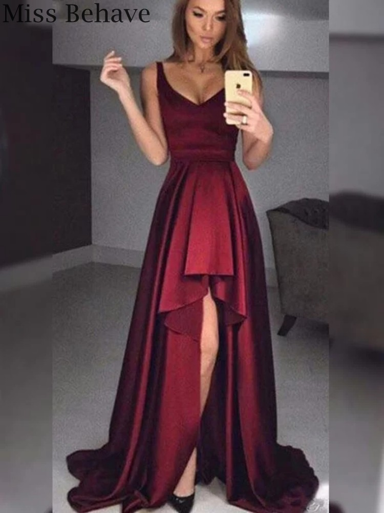DD JYOY Long Elegant Evening Dress with Train Burgundy A Line Formal Women Dress Satin Simple Design Deep V Neck Zipper Back