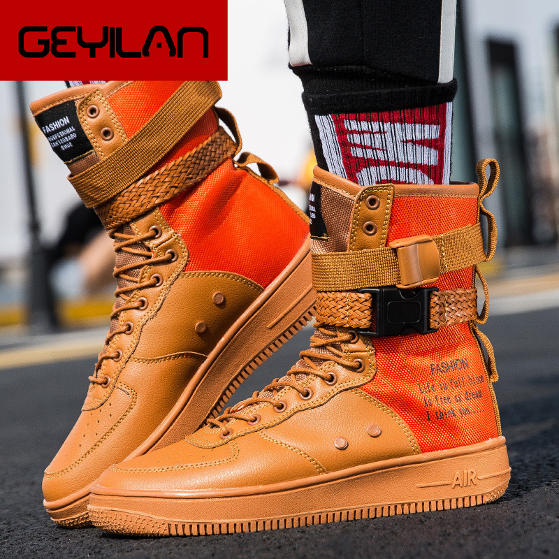 Мужские кроссовки на плоской платформе, оранжевые кроссовки с вулканизированной подошвой красного цвета, большие размеры 36 46, 2019
