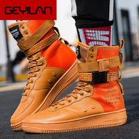 2019 Plus Size 36 46 Cool Lovers Men High Top Fashion Sneakers Platform Flats Boots Shoes Man Orange krasovki Vulcanized Shoes