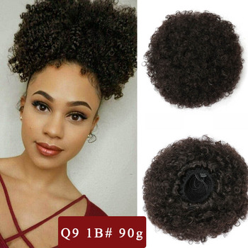 ValenWigs Synthetic Afro Puff Curly Hair Bun Short Kinky Chignon Drawstrings Ponytail Postiche Cheveux