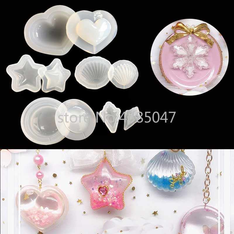 Water Injection Hollow Silicone Jewelry Molds DIY Craft Shells Heart Round Star Handmade Earrings Keychain Molds Jewelry Tools