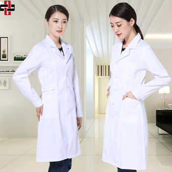 A doctor in a white coat and a nurse in a chemistry lab in a woman\'s coat and a nurse in a chemistry lab in a long sleeve