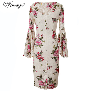 Image 3 - Vfemage Womens Elegant Lace Print Flare Bell Sleeve Fashion Vintage Pinup Formal Party Cocktail Bodycon Pencil Sheath Dress 1222