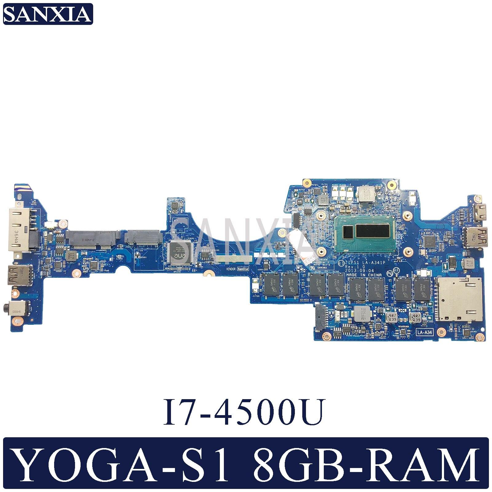KEFU LA-A341P Laptop motherboard para Lenovo ThinkPad YOGA S1 mainboard original 8GB-RAM I7-4500U