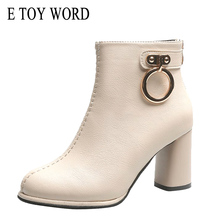 E TOY WORD High-heeled Booties 2019 Autumn New Women Ankle Boots round head Martin boots fashion leather shoes thick heel boots недорого