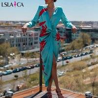 Lslaica Sexy Deep V Neck Autumn blue Dress Women Elegant casual Evening Maxi Dress Long sleeve Holiday Party Dress Ladies 2019