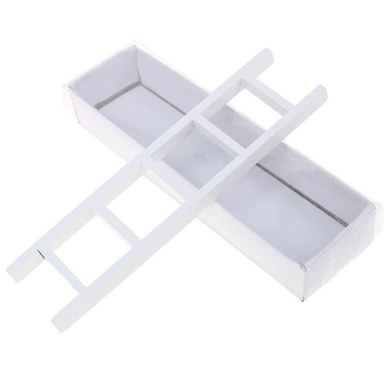 1/12 Dollhouse Miniature White Wooden Ladder Stair Room Fairy Garden Accessories Decoration
