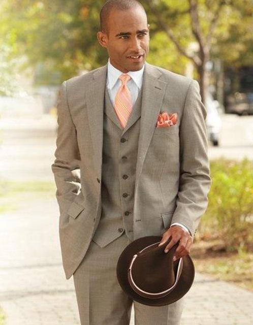 2019 New Three Piece Grey Evening Party Men Suits Notch Lapel Slim Fit Custom Made Wedding Tuxedos (Jacket + Pants + Vest+Tie)