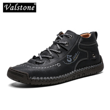 Valstone autumn winter Men sneakers Medium cut boots Male Vintage Leather handmade shoes sneakers XL size 48 Retro Frosty boots