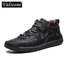 Valstone autunno inverno scarpe da ginnastica da Uomo A Medio cut stivali Depoca di Sesso Maschile In Pelle fatti a mano scarpe da ginnastica taglia XL 48 Retro Frosty stivali