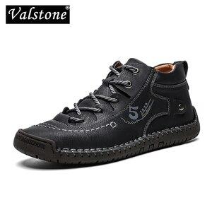 Image 1 - Valstone秋冬メンズスニーカー媒体カットブーツ男性ヴィンテージ革ハンドメイドの靴スニーカーxlサイズ48レトロフロスティブーツ
