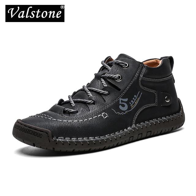 Valstone秋冬メンズスニーカー媒体カットブーツ男性ヴィンテージ革ハンドメイドの靴スニーカーxlサイズ48レトロフロスティブーツ