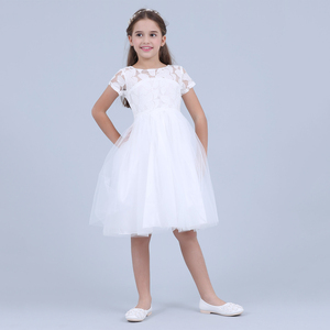 Image 2 - Flowers Short Sleeve White Baby Girl Dress Infant Toddler Summer Ball Gown Lace Christening Party Dresses Kids Girls Clothing
