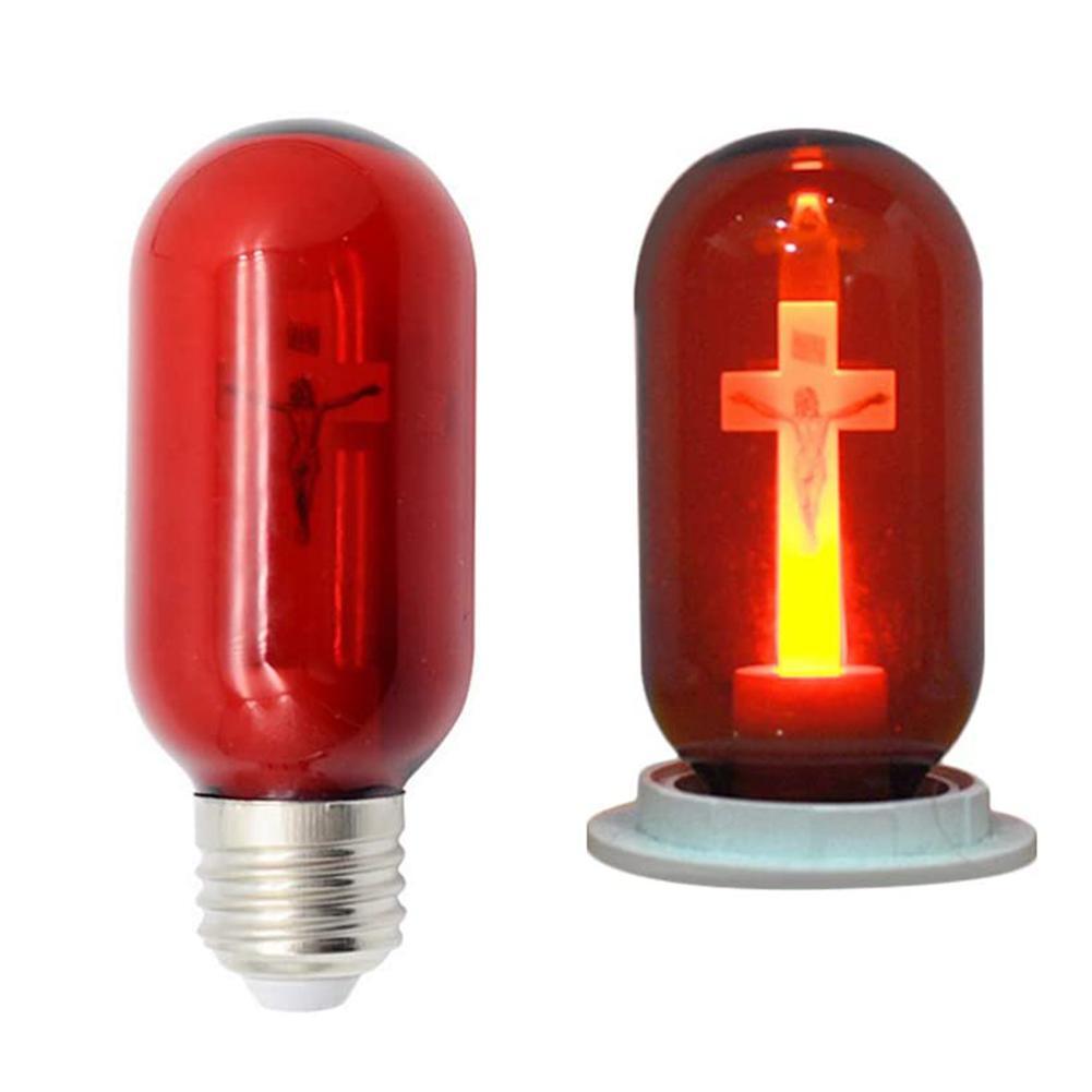 Cross Light Jesus Christ Church Bulb Red LED Bulb E27 Festival Ritual Prayer Decoration Light 220V 0.5W T45 Light Bulb