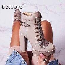 BESCONE/Модные женские ботильоны на платформе с круглым носком; обувь ручной работы из микрофибры на квадратном каблуке; новые женские рабочие ботинки на шнуровке; H1