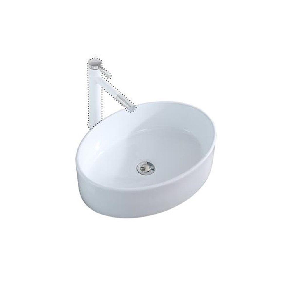 Salle de bain au-dessus du comptoir ovale en porcelaine céramique navire vanité évier Art bassin-porcelaine blanche-avec bouchon pour canalisation Pop Up