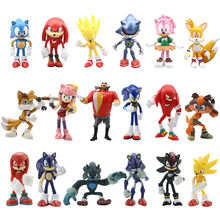 Porte-clés figurines Sonic en Pvc, jouets pour enfants, cadeau de noël, 6 pièces/ensemble 7cm