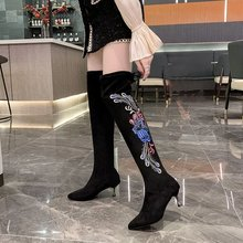 Shoes Woman Embroidered Snow-Boots High-Heels Winter Women's Ladies Over Sexy Casual
