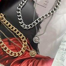 Крупное толстое ожерелье цепочка в стиле ретро крутая двухслойная