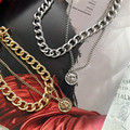 Крупное толстое ожерелье-цепочка в стиле ретро, крутая двухслойная цепь в стиле хип-хоп, аксессуары короткая цепочка на ключицы