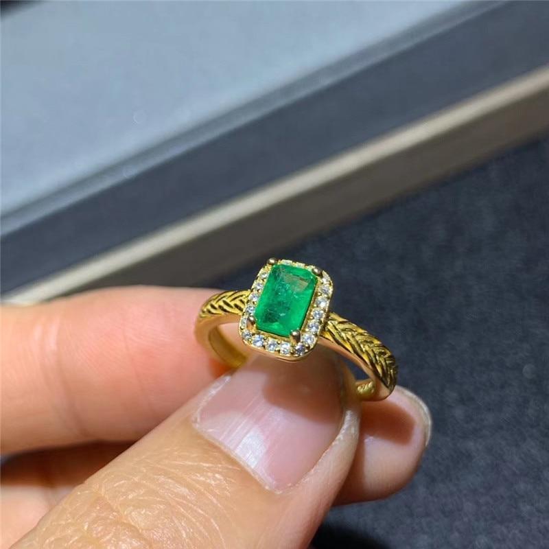 Natural emerald ring 4 * 6 mm rectangular emerald ring precious Gemstone exquisite jewelry