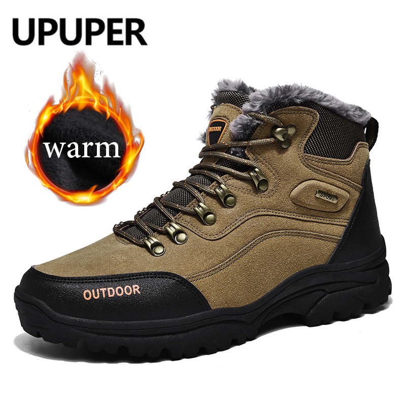 UPUPER Outdoor Men's Snow Boots Super Warm Plush Suede Winter Boots Men Casual Men's Winter Sneakers Shoes Plus Size:39-47