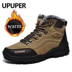 Upuper ao ar livre botas de neve masculinas super quente de pelúcia camurça botas de inverno masculino casual tênis de inverno sapatos mais tamanho: 39-47