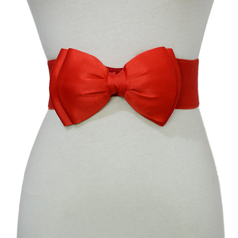 2020 New Cute Women's White Red Yellow Pink Wedding Bow Waist Belt Fabric Female Corset Belts For Women Dresses Cinturon Mujer
