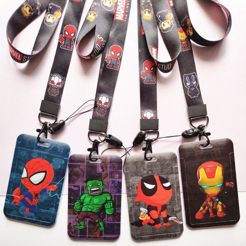 Новый аниме с героями комиксов Марвел, Человека-паука, Железного человека чехол для ПВХ карты студент карты Микки Мышь подвесная сумка держ...