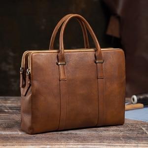 NUPUGOO Vintage Briefcase Men Handbag Shoulder Genuine Leather Casual Brown Business High Quality Crossbody Laptop Office Bag