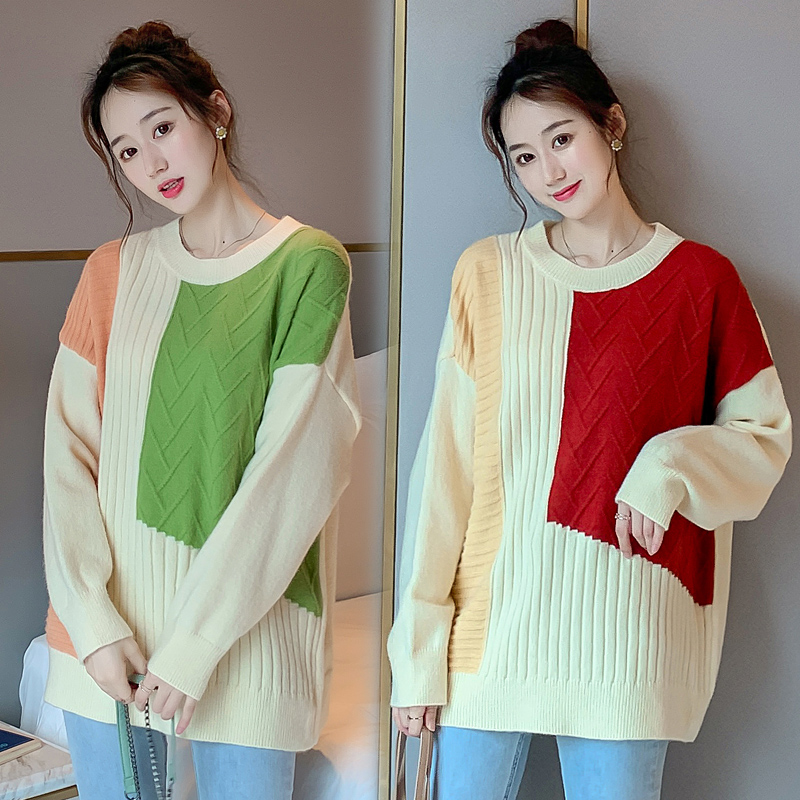 Contrast Color Maternity Clothes Autumn Winter Pullover Sweater Casual Korean Knitting Pregnancy