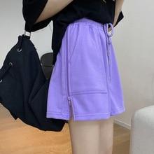 Женские повседневные шорты GOOHOJIO, повседневные шорты свободного покроя, однотонные пляжные шорты свободного покроя, модель 2020