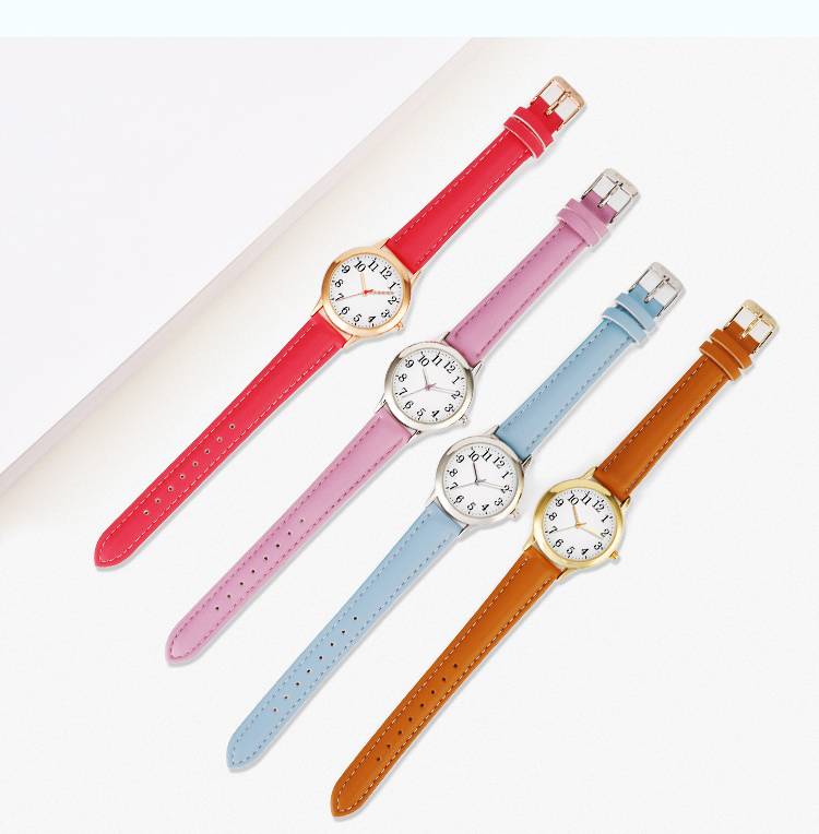 Arabic Numbers Lady ELegant Style Women Watch Candy Color Straps Leather Band Easy Reading Simple Dial Dropshipping Quartz Watch