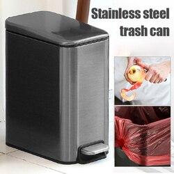 5L prostokątne małe ze stali nierdzewnej krok kosz na śmieci kosz na śmieci kosz na kontener na śmieci pojemnik na śmieci do łazienka AIA99 w Kosze na śmieci od Dom i ogród na