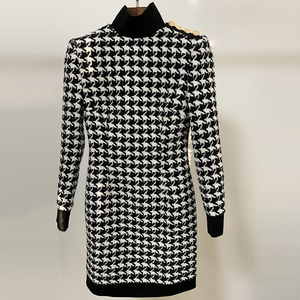 Image 2 - HIGH QUALITY Runway 2020 Stylish Designer Dress Womens Lion Buttons Shimmer Tweed Houndstooth Dress