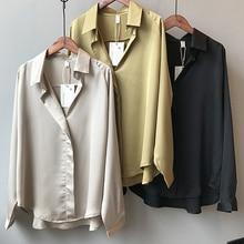 Satin Blouse Street-Shirts Long-Sleeves Imitation-Silk Vintage Elegant V-Neck Femme Women Fashion